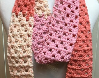 Skinny Peach and Pink Scarf, Long Narrow Scarf, Skinny Crochet Scarf, Crocheted Scarves, Gifts for Her, Fashion Scarf, Skinny Scarf