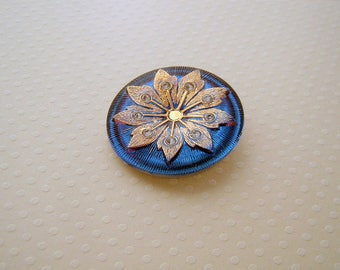 Blue and gold 38 mm glass button - B38 0494