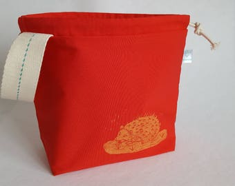 Autumn Hedgehog Printed Canvas Project Bags