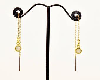 Labradorite Threader Earrings, Gold fill or Sterling Silver Threader Earrings, Labradorite Drop Earrings, Gemstone Threader Earrings