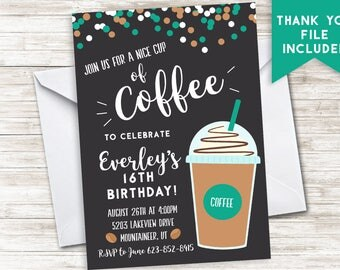 Coffee Birthday Invitation Invite Digital Party 5x7 ANY AGE Latte Teen Adult Chalkboard