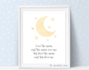 Yellow moon nursery decor, Baby room art, Moon print, Nursery wall art, Moon and stars, Nursery Printable song, I see the moon #0017J