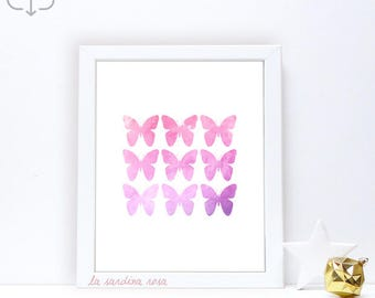 Watercolor butterfly, Printable wall art, Teen room decor, Butterfly nursery prints, pink purple girl room decor #0049VP