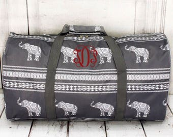 Monogrammed weekender bag, monogrammed overnight bag, monogrammed duffle bag, monogrammed carry on bag, elephant duffle bag
