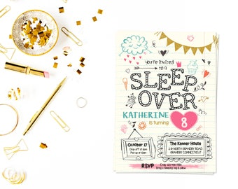 Slumber party pdf,slumber party invitation,girls slumber party invitations,sleepover invitation,spa sleepover invitation