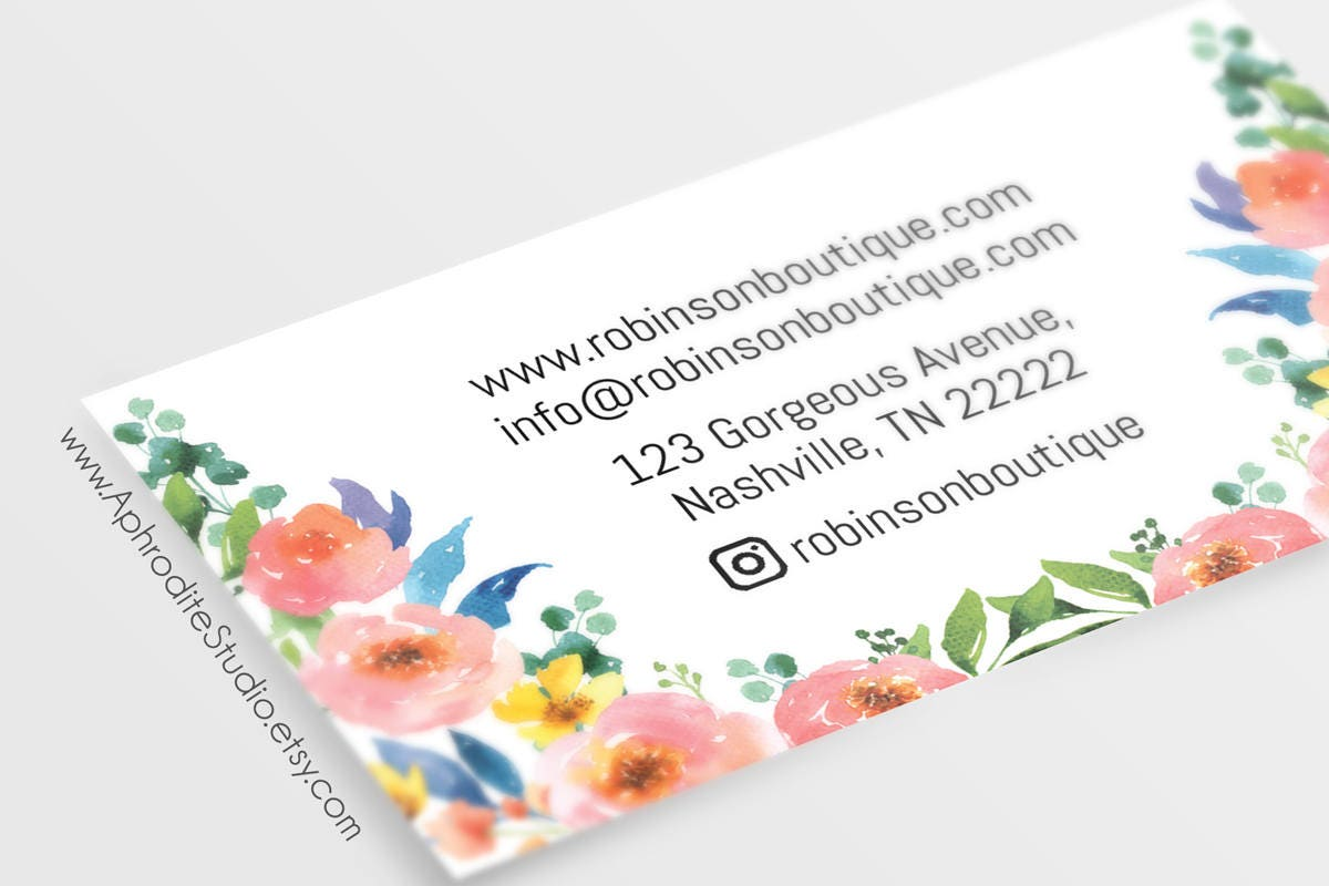 Floral business cards - Flower business cards - Watercolor ...