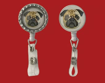Pug Face badge holder- alligator swivel clip