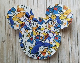 "HUGE 7""x 8"" Disneyland Mickey Mouse Fabric Iron On Applique DIY No Sew, Family Matching Shirts, Custom, Personalized Donald Duck Daisy"