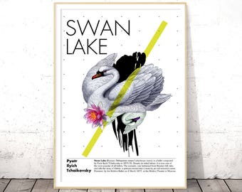 Swan Art Print, Animal Wall Art, Swan Poster Download, Digital Download Art Print, Wall Art Printable, Birthday Gift Her, INSTANT DOWNLOAD