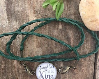 Daughter Of The King Leather Wrap Bracelet/Leather Wrap Bracelet/Scripture Bracelet
