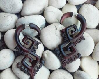 "Fake Gauges, ""Double Square Spiral"" Fake Gauge Earrings Hand Carved Earrings Faux Gauge Earrings Wooden Split Earrings Tribal Wood Earrings"