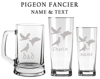 PIGEON Fancier Engraved Glass Tankard - Pint - Half Pint ANY Name / Text FREE Tint !