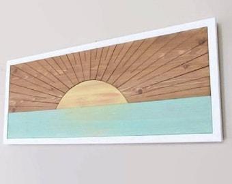 Wood Beach Decor, Beach Art, Sunrise Sunset, Coastal wood art, Cottage Chic Art, Painting on Wood, Boho Beach, Sunrise wood, Nursery Decor