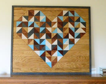 Wooden Heart Mosaic Wall Hanging Art. Gift for her.