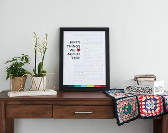 50 Things We Love About You - Custom Birthday Print