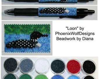 Loon by PhoenixWolfDesigns beaded pen kit (pattern sold separately)