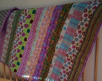 Modern striped patchwork cot quilt