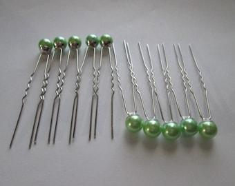 Sold a plain clear for wedding hair pins, Pearl satin hair clip green pillowcase