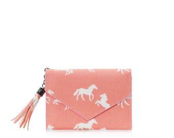 Small wallet women cards Oilcloth pocket wallet, Compact purse, Horse wallet, mini vegan purse Travel card wallet, Ladies Teenage girl purse
