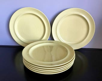 Set of 7 Furio (Fuo59) Bright Yellow Dinner Plates with Embossed Rings