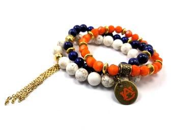 Auburn beaded bracelet set of 3 stretch bracelets, Auburn bracelets, Auburn game day jewelry, AU Tigers bracelets, AU orange and blue