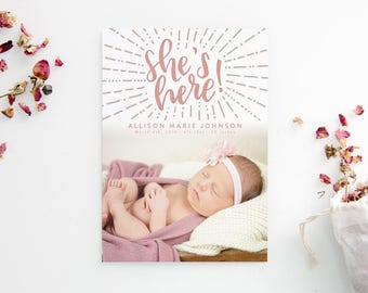 Printed Birth Announcements - Hand Drawn Starburst - Hand Lettered - She's Here - Photo Cards - Newborn Girl - Adoption Announcement