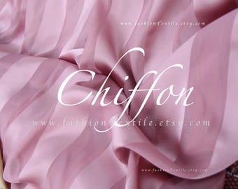 Striped fabric lavender chiffon faux silk by the yard