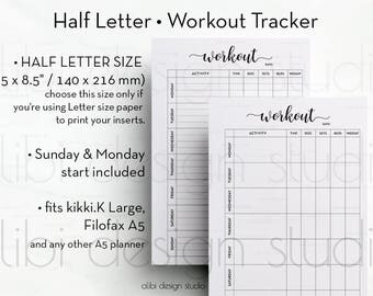Workout Tracker, Half Letter, Fitness Planner, Printable Planner, Workout Journal, Half Size Planner, Workout Planner, Half Size, Workout