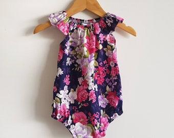 Baby girl playsuit // flutter sleeve // romper // vintage // navy // floral // baby gift // baby shower