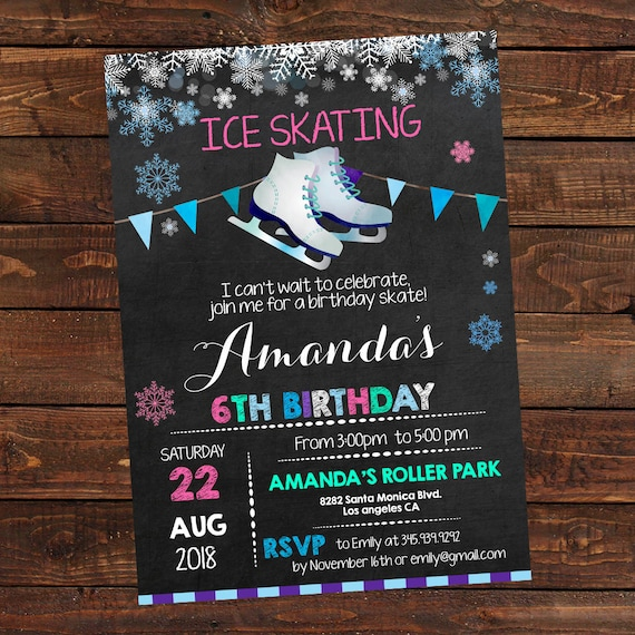 Ice Skating Invitation Ice Skating Birthday Invites Ice Skating