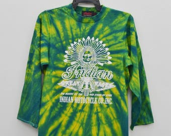 Rare vintage 90's Indian Motorcycles t shirt size S small tie dye