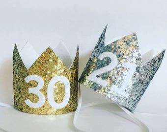 Adult Birthday Crown, 21st Birthday Crown, 30th Birthday Crown, 40th Birthday Crown, 50th Birthday Crown, Gold Silver Adult Birthday Mini Cr