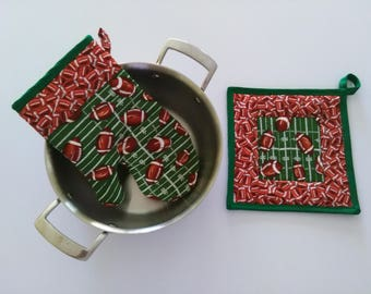 Football Oven Glove and Pot Holder Set, Coach Gift