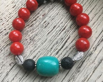 Essential Oil stretch bracelet red and turquoise