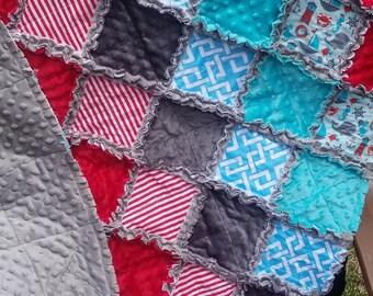 Nautical Rag Quilt – Red/Blue/Grey – Minky Rag Quilt – Whale/ Sea Horses / Anchors / Lighthouse / Sailboats / Nursery Decor