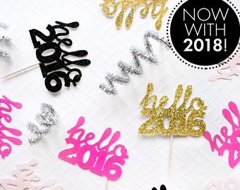 Hello 2018 Cupcake Toppers, NYE Wedding, Hello 2018, New Years Eve, New Year 2018 Cupcake Toppers, Gold Glitter,  2018 Decor, NYE Party