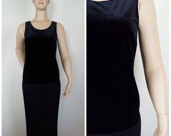 Vintage Womens 1980s / 1990s Drop Waist Midi Dress with Pleated Skirt and Velvet Bodice | Size M/L