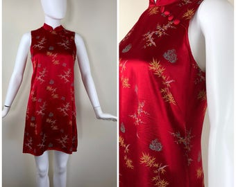 Vintage Womens 1990s Red Satin Chinese Style Sleeveless Shift Minidress with Floral and Bamboo Print and Mandarin Collar | Size S/M
