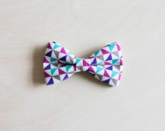 Dog Bow Tie Collar, Cat Bow Tie Collar, Purple Blue Grey Pattern, Rose Gold Buckle, Gold Buckle, Wedding Dog Collar, Cat Bow Tie, Cat Collar