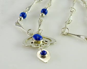 """Sterling Blue Stone Necklace (15"""") by S. Stone"""