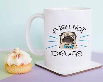 Pugs Not Drugs Mug (With Gift Box)