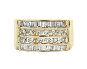 1.00 Carat Round Baguette Cut Diamonds Channel Setting Mans Ring 14K Yellow Gold