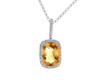 2.00 Carat Cushion Cut Citrine Round Diamond Frame Pendant 14K White Gold