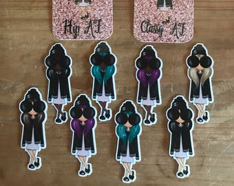 Hipster fashion doll die cuts. Planner decorations, stickers, accessories. Perfect for planners, travelers notebooks, scrapbooks, memory boo