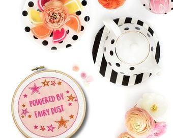Embroidery Hoop Art Beginner Fairy Dust Modern Embroidery Kit. Summer hand embroidery hoop art DIY Craft Gift Easy Hand Embroidery Pattern