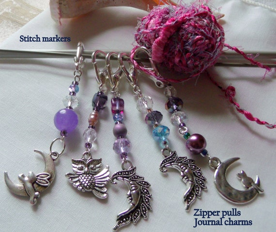 Purple crystal zipper pulls -  stitch markers - cat - bunny - owl - moon  silver charm - journal - knitting group gift - favors - night time
