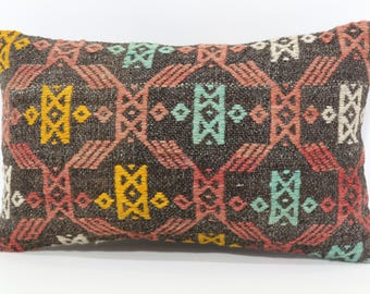 12x20 Embroidered Kilim Pillow Sofa Pillow 12x20 Lumbar Kilim Pillow Bohemian Kilim Pillow Home Decor Cushion Cover  SP3050-1011