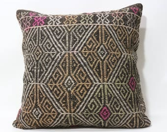 Naturel Kilim Pillow 24x24 Embroidered Kilim Pillow Throw Pillow Boho Pillow Handwoven Kilim Pillow Floor Pillow SP6060-1237