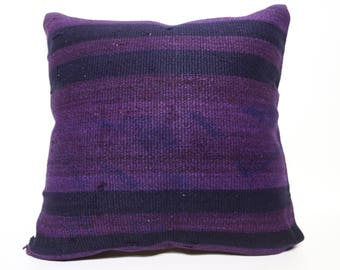 20x20 Handwoven Violet Kilim Pillow Turkish Kilim Pillow 20x20 Overdyed Kilim Pillow Decorative Kilim Pillow Cushion Cover SP5050-2398