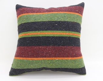 Red Pillow  Bohemian Cushion Cover Pillow Green Pillow 20x20 Large Turkish Kilim Pillow Striped Pillow Multicolor Kilim Pillow  SP5050-2731